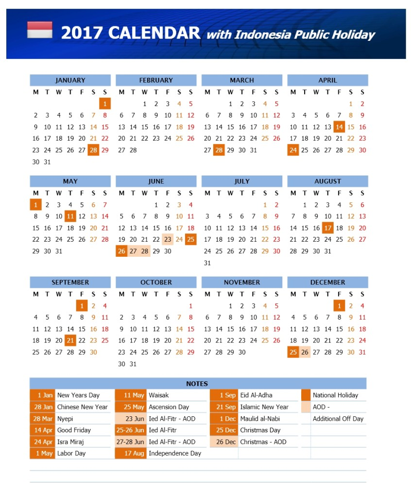 2017 Calendar With Indonesia Public Holiday